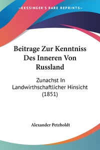 Книга под заказ: «Beitrage Zur Kenntniss Des Inneren Von Russland»