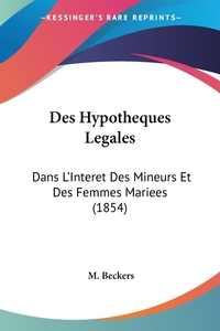 Книга под заказ: «Des Hypotheques Legales»