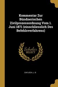 Kommentar Zur Bündnerischen Zivilprozessordnung Vom 1. Juni 1871 (einschliesslich Des Befehlsverfahrens), Caflisch J. B обложка-превью